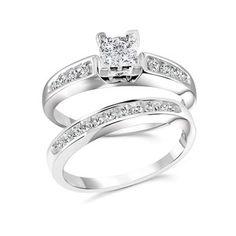 Ensemble d'alliances (bague et jonc) serti de diamants totalisant 0.50 Carats Pureté:I Couleur:GH - en Or blanc 10K