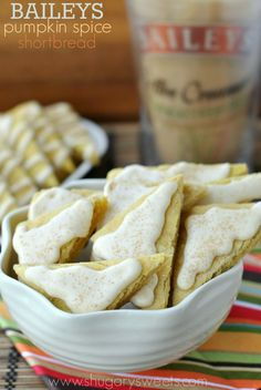 BAILEYS Pumpkin Spice Shortbread Cookie Bars: buttery shortbread made using pumpkin spice creamer!