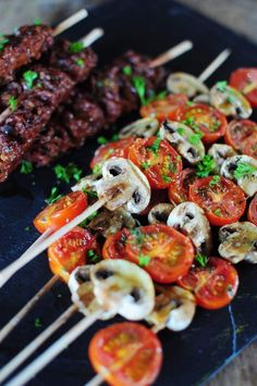 Tomato and mushroom skewers – La popotte de Manue – The most beautiful recipes Barbecue Recipes, Grilling Recipes, Cooking Recipes, Healthy Recipes, Barbecue Party, Barbecue Grill, Receta Bbq, Pork Ribs, Food Inspiration