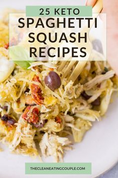 These are the best low carb, Keto Spaghetti Squash Recipes! Easy to make with healthy ingredients-you'll love these recipes for side dishes, chicken   more! Everything from casseroles to stir frys, soups and more. There are recipes for beef, chicken, turkey and even vegetarian options! Healthy Grilled Chicken Recipes, Healthy Turkey Recipes, Healthy Gluten Free Recipes, Whole30 Recipes, Lunch Recipes, Easy Clean Eating Recipes, Easy Whole 30 Recipes, Spaghetti Squash Recipes, Vegetarian Options