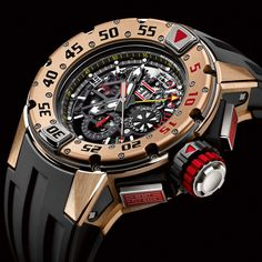The Richard Mille A Skeleton Automatic Chronograph Rose Gold Dive Watch with a black rubber tang strap. Richard Mille, Sport Watches, Cool Watches, Men's Watches, Pocket Watches, Elegant Watches, Luxury Watches For Men, Watch Case, Chronograph