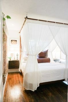 ARTAYASA // Bed Canopy, Hanging Luxury Cotton Mosquito Net with Sunbrella Topper, Queen or King, Daybed Cabana Tropical Coastal Home Decor - Canopy bed - Curtains Canopy Bedroom, Home Bedroom, Modern Bedroom, Bedroom Furniture, Master Bedroom, Bedroom Decor, Contemporary Bedroom, Canopy Bed Curtains, Bedroom Ideas