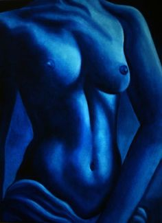 Blue Skies, Blue Nude Painting by k Madison Moore