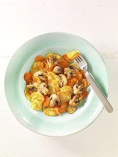 Bratkartoffeln mit Pilzen und Reibekäse | Niacin, auch Vitamin B3 genannt, ist an der Zellteilung beteiligt und wird für den Kalzium-Stoffwechsel benötigt. Es ist im Käse enthalten, der auch Kalzium liefert.
