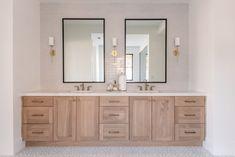 Gray Tile Bathroom by Becki Owens Brass Bathroom Fixtures, Grey Bathroom Tiles, Grey Tiles, Small Bathroom, Grey Kitchen Tiles, Oak Bathroom Vanity, Boy Bathroom, White Subway Tiles, Master Bathrooms