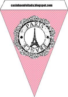 Fanion pour guirlande à imprimer pour déco d'anniversaire sur le thème de Paris