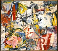 "Wilem de Kooning ""Gotham News""  1955.   newspaper as a background.  Lot of texture and layered colors.  What can you see in it?"