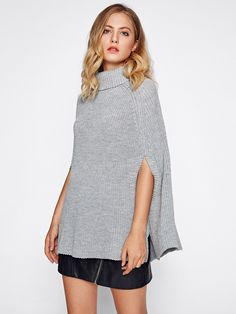 Roll Neck Poncho Jumper With Arm Hole -SheIn(Sheinside)