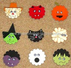 Uses the Scalloped Circle Maker from CM. Halloween faces using scalloped circle punch Paper Punch Art, Punch Art Cards, Halloween Cards, Up Halloween, Halloween Paper Crafts, Halloween Quotes, Fall Cards, Holiday Cards, Christmas Cards