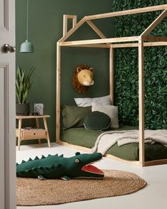 SHOP THE LOOK: Kids Room Decor Ideas to Inspire. We all know how difficult it is to decorate a kids bedroom. A special place for any type of kid, this Shop The Look will get you all the kid's bedroom decor ide Baby Bedroom, Nursery Room, Bedroom Decor, Nursery Ideas, Bedroom Green, Green Boys Room, Bedroom Furniture, Jungle Nursery, Safari Bedroom