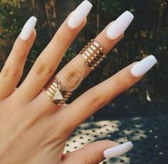 Matte white coffin shaped nails. Gorgeous, simple, and so classy!