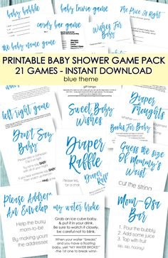 21 Printable Baby Shower Games - Super Game Pack - Blue Theme - Print It Baby Bingo Baby Shower, Free Baby Shower Printables, Cute Baby Shower Ideas, Baby Shower Prizes, Baby Shower Party Supplies, Baby Shower Activities, Baby Shower Favors, Shower Gifts, Baby Ideas