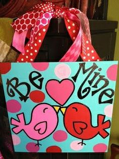 Cute Bird canvas paint idea for wall decor. Canvas painting. Wall art. Personalize. Love birds. Be mine. Happy Valentine's day. Polka dots. Red and pink. Love.