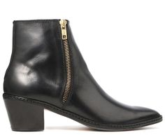 Women's Azi (Black) Leather Heeled Ankle Boot | H Shoes