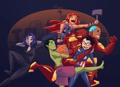 The Teen Titans are going as The Avengers for Halloween. Raven is Black Widow, Starfire is Thor, Cyborg is Iron Man, Robin is Captain America and Beast Boy is Hulk. Robin Starfire, Beast Boy, Teen Titans Go, Deathstroke, Young Justice, Cartoon Network, Die Rächer, The Avengers, Dc Memes