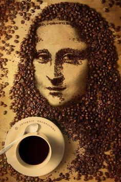 Mona Lisa in Coffee Beans