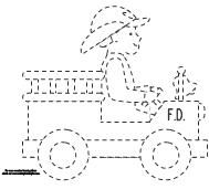 Free Trace and Color printable. Firefighter and fire truck for fire safety week.