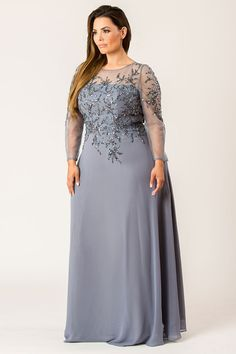 Make every occasion glam up with this beauty Fabric is net with sequin,beads and stones Bottom (Below waist) Georgette Fully lined Full Sleeves Back zipper Dry clean only. Embroidered styles may take days extra for delivery. Plus Size Formal Dresses, Evening Dresses Plus Size, Plus Size Outfits, Women's Dresses, Elegant Dresses, Dresses With Sleeves, Full Sleeves, Casual Dresses, Elegant Clothing