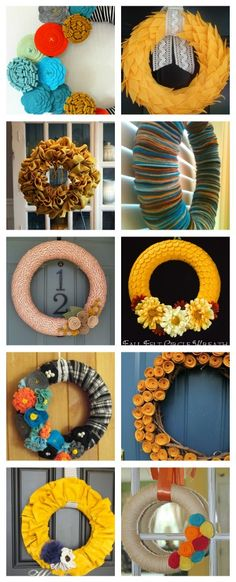 Holy cow, i need all of these! I can feel the crafting from my head to my toes! 10 fall Felt Wreaths Look @Victoria Brown Goepfert