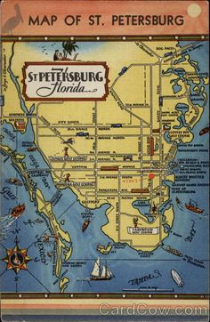Map of St. Petersburg Florida - Loved visiting my Grandparents, playing shuffle board and hanging at the beach. Moving To Florida, Old Florida, Vintage Florida, Florida Vacation, Florida Travel, Florida Maps, Vintage Cartoon, St Petersburg Florida, Saint Petersburg