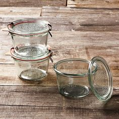"Weck Mold Jars, Set of 6 #WilliamsSonoma    Canning Jars  -----   12.5-oz. cap.: 2 1/2"" high, 4"" opening.   19.6-oz. cap.: 4 1/4"" high, 4"" opening.   Set includes 6 jars, 6 lids, 6 rubber rings and 12 clamps.   Made in Germany."
