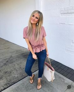 The most perfect ruffle trim top and only! I dont think this thing could get any cuter! Also my jeans are bogo off right Spring Fashion Trends, Spring Summer Fashion, Summer Wear, Casual Outfits, Fashion Outfits, Womens Fashion, Casual Summer Outfits For Work, Dressy Jeans Outfit, Fashion Ideas