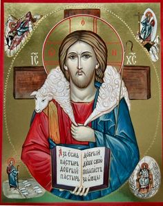 Hand painted Orthodox icon of Christ The Good Shepherd by Peter Dzyuba. He has some icons in stock and accepts commissions at www.iconsofglory.org
