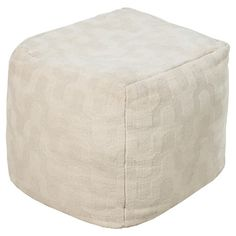 Showcasing a subtle chevron motif in ivory, this lovely wool pouf is perfect as an extra seat for guests in the living room or den.   Pr...