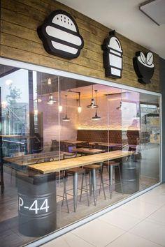 La 44 - Hamburguesería: Espacios comerciales de estilo  por Taller La Semilla Coffee Shop Design, Kitchen Island, Shopping, Home Decor, Homemade Home Decor, Floating Kitchen Island, Interior Design, Decoration Home, Home Interiors
