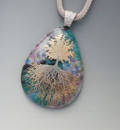 Tree of Life Jewelry Teardrop Pendant  Fused Glass by GlassCat