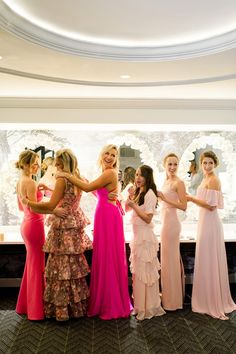 These Sparkly Floral and Hot Pink Bridesmaids Dresses Take Mix-and-Match Gowns to the Next Level - mix-and-match bridesmaids gowns pink bridal party pink bridesmaids gowns abby jiu Elizabeth Caccia - Hot Pink Bridesmaids, Pink Bridesmaid Gowns, Pink Gowns, Wedding Dresses, Mix Match Bridesmaids, Wedding Attire, Party Dresses, Formal Dresses, Wedding Inspiration