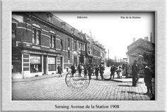 Avenue de la  station a seraing ,a droite la passerelle1908
