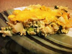 Clean Eating Healthy Cheesy Chicken and Brown Rice Bake ... MADE IT and it was good!  I used cottage cheese and substituted cilantro for basil... and didn't add the green chilis.  It turned out pretty darn good for a rice casserole!
