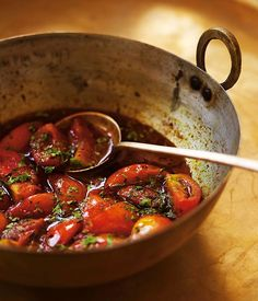 Christine Manfield: Sweet-and-sour tomatoes - Australian Gourmet Traveller recipe for sweet-and-sour tomatoes by Christine Manfield. Fig Recipes, Chef Recipes, Indian Food Recipes, Cooking Recipes, Healthy Recipes, Ethnic Recipes, Sauce Recipes, Recipies, Tapas