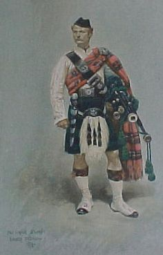 The 4th VB Black Watch (Royal Highlanders) Piper (Water colour dated 1879)