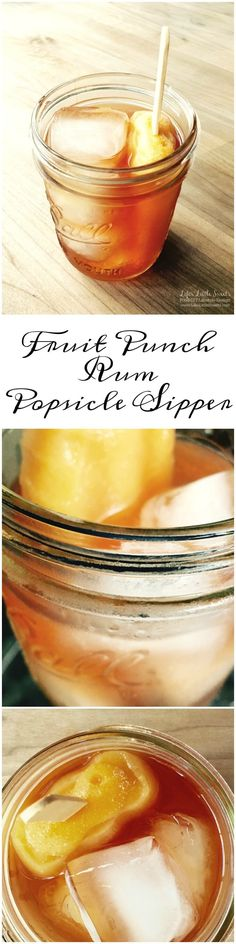 This Fruit Punch Rum Popsicle Sipper is perfect for those hot, humid Summer days. It is an assembled drink of only 3 ready-made ingredients and ice with only 2 steps - Cool off with this drink today!