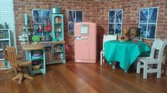 The new apartment kitchen for the dolls. #agig #americangirl #americangirldoll #altagig