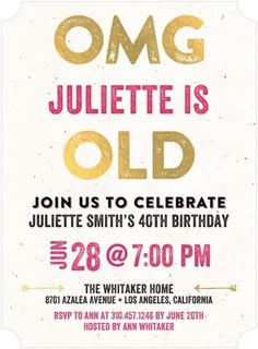 Unbelievable Age - Adult Birthday Party Invitations - Jill Smith - Begonia - Pink