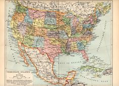 1897 United States and Mexico Antique Map Florida by Craftissimo, €14.95