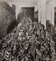 Piles of personal belongings left after mass extermination. (Auschwitz-Birkenau State Museum Archives)