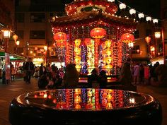 南京町広場東屋のイルミネーション/ランターンフェア(中国提灯)・神戸南京町のクリスマス&夜景/神戸市 Kobe、JAPAN