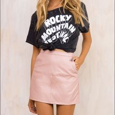 Light pink leather skirt Light pink Leather skirt (it's not urban outfitters) but I just put it under the category. Really cute & beautiful color. Size 6 in Australia so it's fits a small/medium Urban Outfitters Skirts Mini