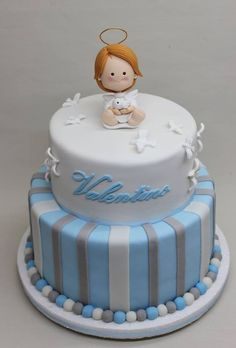 For boys christening Fondant Cakes, Cupcake Cakes, Cupcakes, Ideas Bautismo, Christening Cake Boy, Religious Cakes, Confirmation Cakes, First Communion Cakes, Angel Cake
