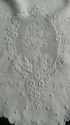 Antique Appenzell embroidery round linen tablecloth hand made