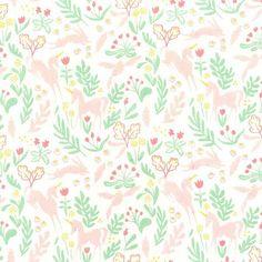 Michael Miller - Flannel Magic collection Magic Folk Cotton Flannel Fabric, unicorns and rabbits