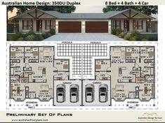 Duplex House Design - 8 Bedroom 4 Bathrooms 4 Car - Construction Plans For Sale Plan Duplex, Duplex Floor Plans, House Floor Plans, Family House Plans, Small House Plans, Building A Porch, Building A House, Morton Building Homes, Small Cottage Homes