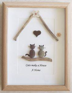 Pebble Art framed Picture- Cats make a House a Home-Pebble Art framed Picture- Cats make a House a Home Handicrafts & handicrafts with children. Picture made of stones and driftwood. Pebble Art framed Picture Cats make a House a Home - Pebble Stone, Pebble Art, Stone Art, Pebble Pictures, Stone Pictures, Sea Glass Crafts, Sea Glass Art, Stone Crafts, Rock Crafts