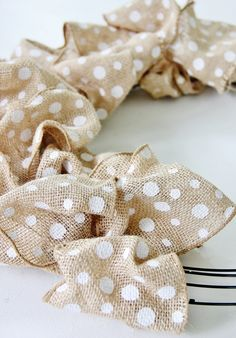 Polka dot burlap wreath (see post for instructions on adding photos to the wreath - for indoor display)