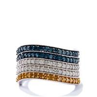Yellow Diamond Ring with Blue Diamond in 9k White Gold 1ct