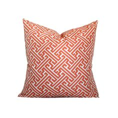 Designer jacquard pillow cover in a woven maze design with Greek Key influence. The coral/melon/guava colored pattern is raised above the off white